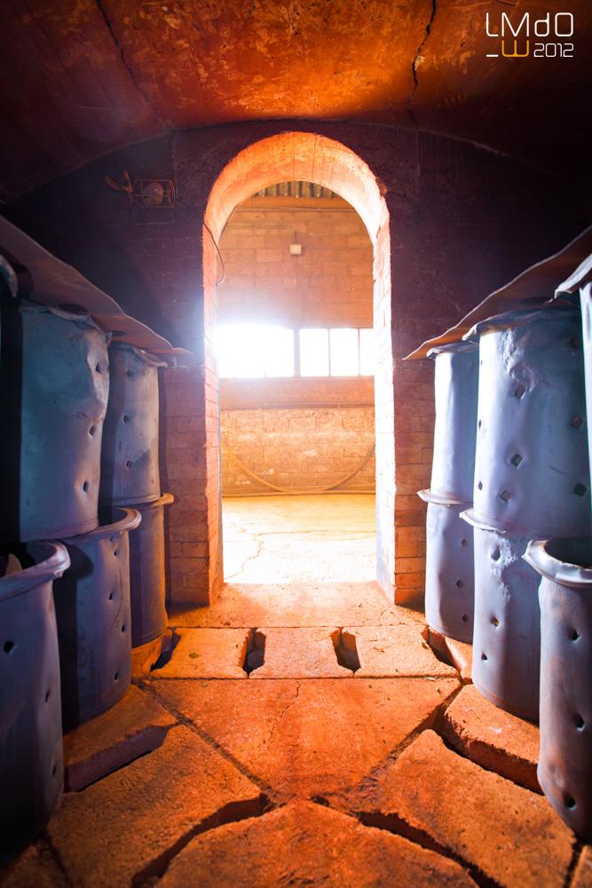 Intérieur du calcinateur dans lequel sont chauffées nos terres à 700°C